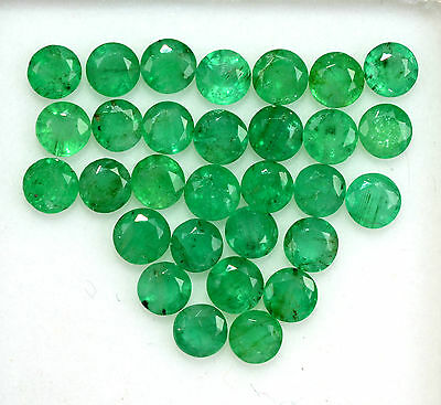 Natural Emerald Round Cut 4 mm 6.39 Cts 25 Pcs Untreated Green Loose Gemstones