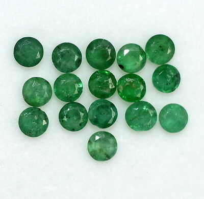 Natural Emerald Round Cut 3.00 mm 8 Pcs 0.85 Cts Untreated Deep Green Gemstones