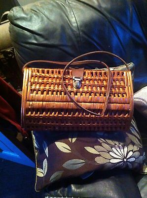 Vintage Wicker Antique Fly Fishing Creel Basket Trout Poaching