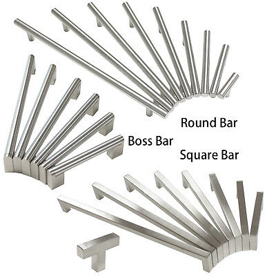 Brushed Nickel Cabinet Drawer Pulls Knobs Square/Round/Boss Bar Kitchen Handles
