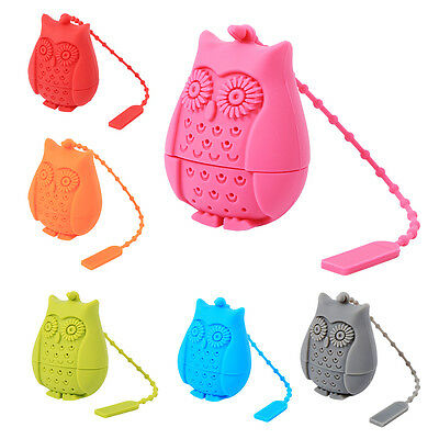 Tea Brewing Utensil Cute Owl Shape Loose Tea Infuser Strainer Silicone Red