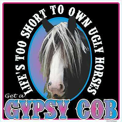 GYPSY COB UGLY HORSE DECAL Outdoor Sticker Cowgirl Rodeo DRESSAGE JUMPING PONY