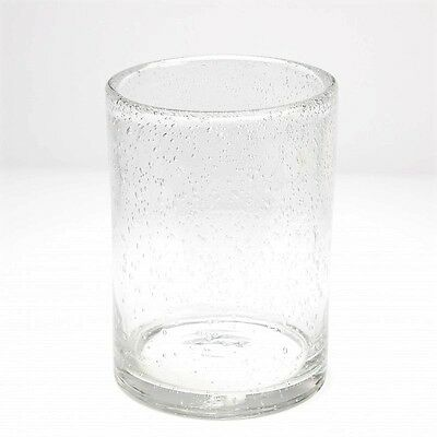 Tall Bubble Effect Glass Cylinder Hurricane Vase Floral Candle Decor