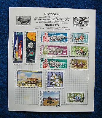 Five Old Album Pages with Mongolia Stamps.