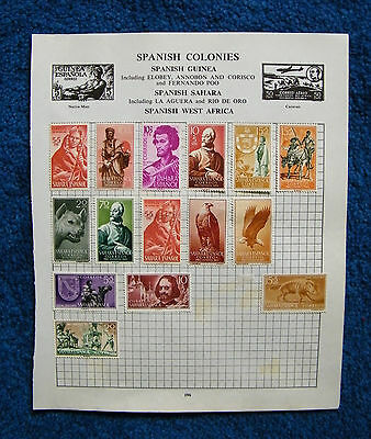 Old Album Page with Spanish Sahara Stamps. Spain.