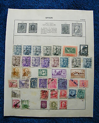 Ten Old Album Pages with Spain Stamps.