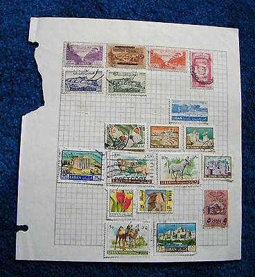 Three Old Album Pages with Lebanon Stamps.
