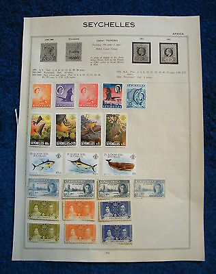 Three Old Album Pages with Seychelles Stamps.
