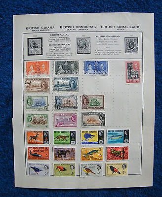 Two Old Album Pages of British Honduras Stamps.