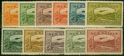 New Guinea 1939 Airmail set of 11 to 2s SG212-222 Fine Lightly Mtd Mint