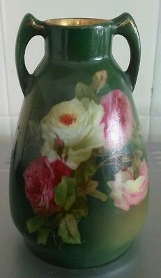 Green Floral Design Transfer Printed Small Urn Vase 11.5cm Tall.