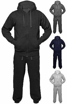 Kids Girls Boys Unisex Active Sports Plain Jogging Full Tracksuit Ages 2-13