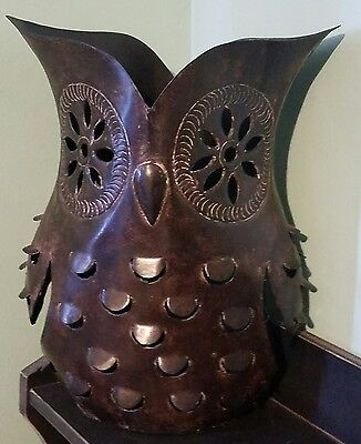 New! POTTERY BARN ~METAL OWL~ CANDLE HOLDER LARGE Bronze.