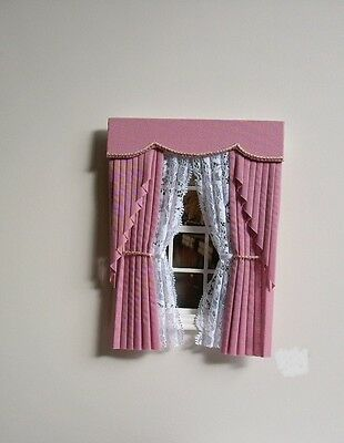 Dollshouse Curtains Dusky Pink  Swag With Tied Nets