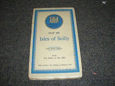 Vintage OS MAP - ISLES of SCILLY 2 INCH TO 1 MILE 5th RELIEF EDITION 1933 CLOTH