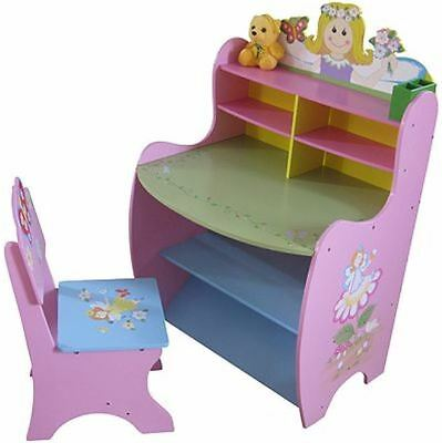 Child Desk And Chair Set Wooden Fairy Learning Kids Room Pastel Colours Pink