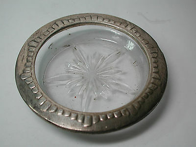 Antique Vintage Sterling Silver Crystal COASTER or Small Candy Dish