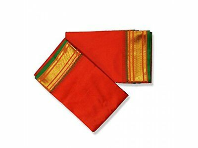 Red Dhoti With Shawl In Pure Silk Golden Border #9