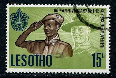 Lesotho: 1967 60th Anniversary of Boy Scout Movement 15c stamp SG144 Used M235