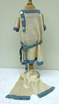 Fashion Dolls Soft Knit Low Waisted Dress & Knickers Antique Doll Vintage Outfit