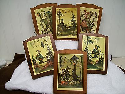 Vntg. 6 Hummel Wall Plaques - Manchester Wood Hand Crafted In Vermont
