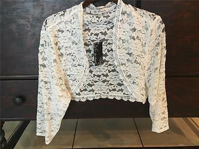 WOMEN'S WHITE LACE BOLERO/LACE SHRUG-FOR WEDDING GOWN-SIZE 2x GORGEOUS LACE!