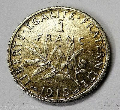 France 1915 Silver 1 Franc in Nice Condition (See Pics)