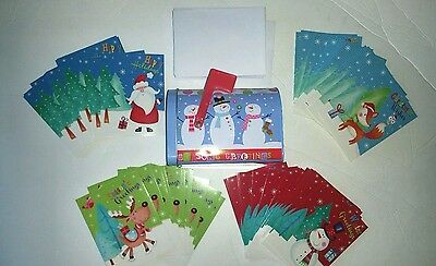 New Lot of 60 Assorted Christmas Greeting Cards & Envelopes In Mailbox Tin