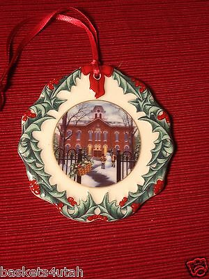 Longaberger Collectors Club ~ 1996 Hometown CHRISTMAS ORNAMENT /TIE ON ~ NEW!