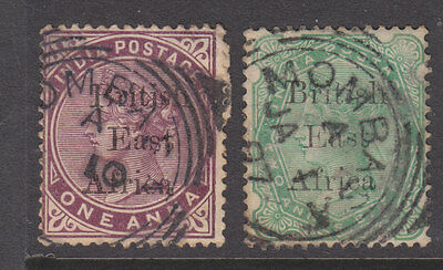 British East Africa Sg 50 and 53 overprint both with Mombassa cancels