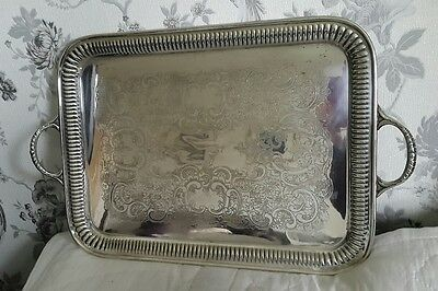 A Beautiful Heavy Vintage Silver Plated Twin Handled Tray by Lewis Rose & Co