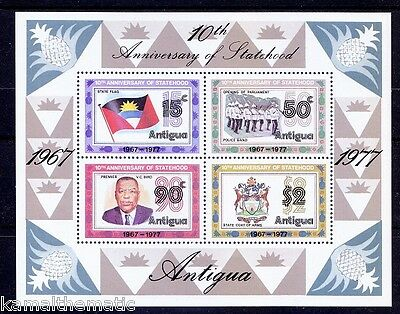Antigua MNH SS, Flag, Coat of Arms, Police Band, Music - Mu15