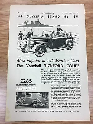 Very Rare 1935 TICKFORD / Vauxhall A4 Vintage B&W Car Advert L2