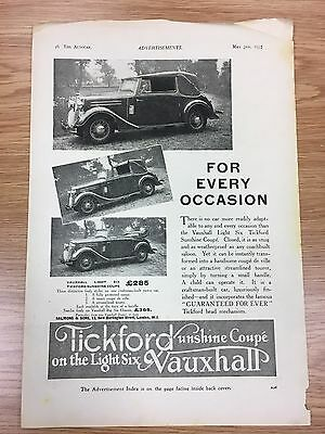 Very Rare 1935 TICKFORD / Vauxhall Sunshine Coupe A4 Vintage B&W Car Advert L3