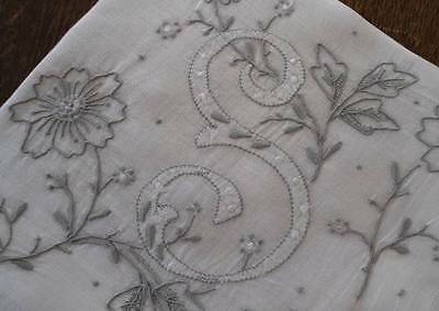 Vintage Madeira Linen Wedding Hanky Gray Applique Ornate Embroidered Monogram G