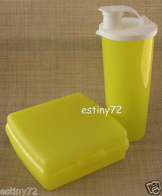 Tupperware Kids Sandwich Keeper & Tumbler With Spout Set Yellow & White New