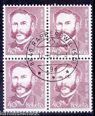 Dunant, Red Cross Founder, Nobel Peace, Switzerland Blk of 4 Used   - R35