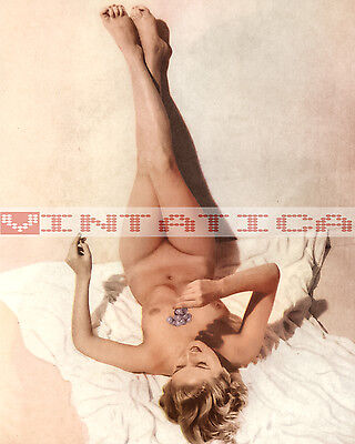 Vintage Blonde Nude Pin Up Photo 8X10 Print E121