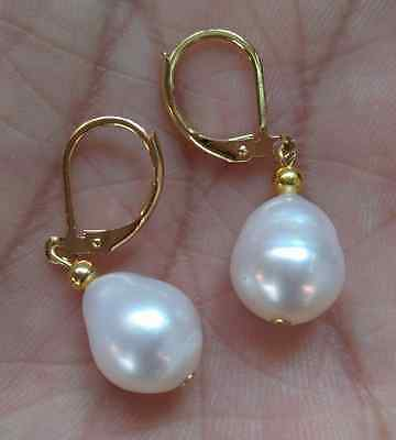 HOT HUGE AAA 10-12mm white south sea pearl earring 14k yellow gold