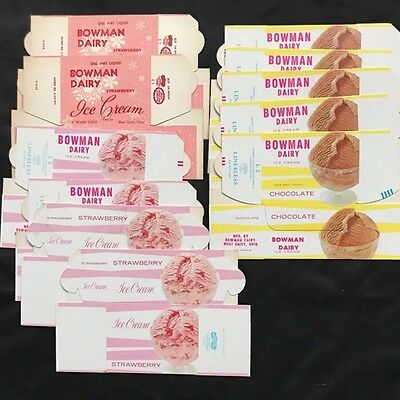 LOT: NOS Bowman Dairy Ice Cream Advertising Box New Old Stock 1950s