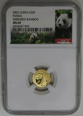 2002 CHINA PANDA GOLD 20 YUAN MIRRORED BAMBOO NGC MS 69, panda label