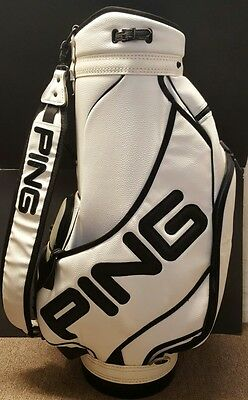 Ping Leather Style Tour Golf Staff Bag Black & White with Rain Cover