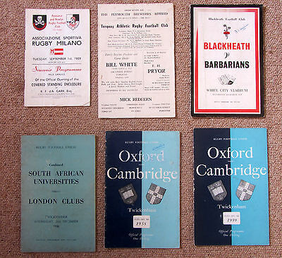 6 Rugby Union Programmes from 1950s