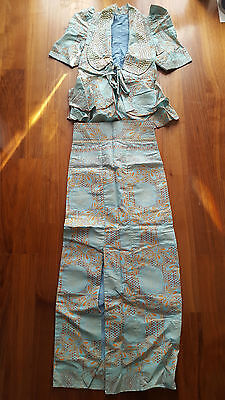 African Women Ladies Set Top And Skirt Blue Multi Brand New No Tags Xs Uk6