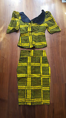 African Women Ladies Set Top And Skirt Black Yellow Brand New No Tags Xs Uk6
