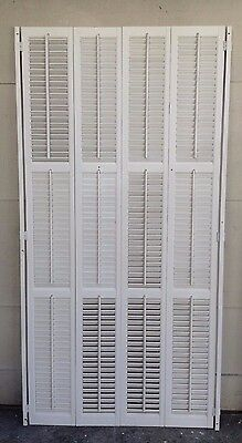 "72"" TALL X 35"" Wide VTG Colonial Wood Interior Louver Plantation Window Shutters"