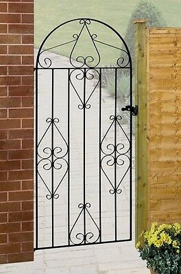 """Classical Arch Style Wrought Iron Metal Single Side Garden Gate 36"""" opening 6ft"""