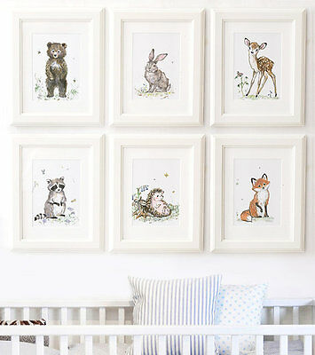 Woodland Nursery Animal Pictures Prints - Deer Fox Hedgehog Owl Rabbit Squirrel