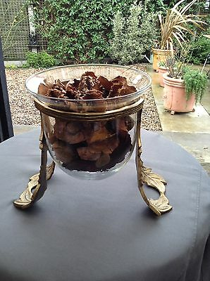 POT POURRI GLASS BELL / BOWL IN BRONZE HOLDER or ORCHID PLANTER ?