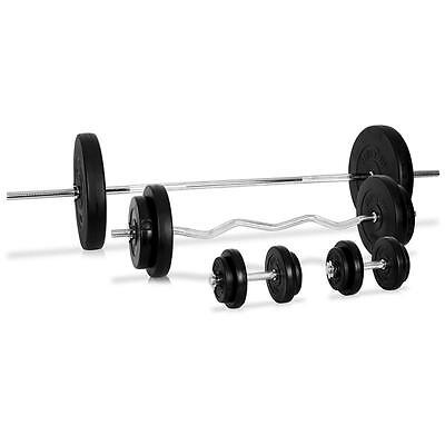 KLARFIT 75 KG BARBELL 2x DUMBELL CURL BAR ARM CHEST WEIGHT LIFTING TRAINER SET